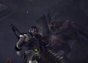 洞窟内に追い込まれるハンター